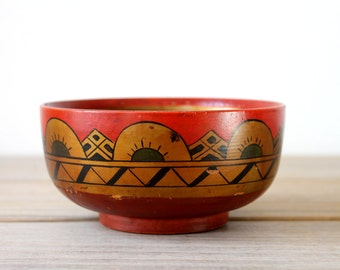 Rustic folk style vintage bowl / painted wood bowl / boho home decor / ethnic style decor / geometric / folk cottage farm house style decor