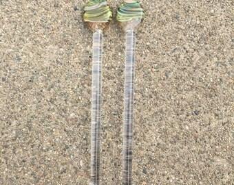 Lowball Cocktail mixers barware Glass Stirrer Set by OceanBeachGlass