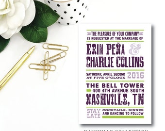 Nashville Design Printed Wedding Invitations | Printed or Printable by Darby Cards