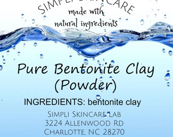 Pure Bentonite Clay Powder -  perfect for diy face mud mask. Just add water Top Quality cosmetic grade Simpli Skincare