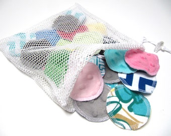 Reusable Facial Rounds, 30 ADULT Print Cosmetic Rounds With Minky Backing, Makeup Remover Pads, Minky Flannel Facial Pads, Add on Wash Bag