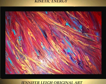 Original Large Abstract Painting Modern Acrylic Painting Oil Painting Canvas Art Red KINETIC ENERGY Gold 36x24 Textured Wall Art  J.LEIGH
