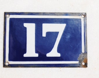 Vintage French enamel cobalt blue and white house number plaque - number 17