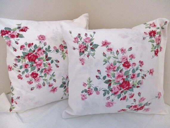 Shabby Chic pink roses pillows set of 2 by EnglishGardenTeaShop