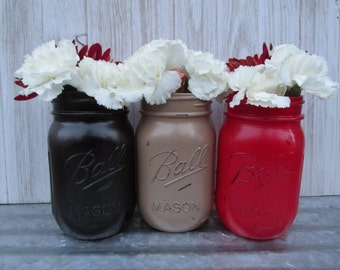 Lumber Jack-Painted and Distressed Ball Mason Jars- Beige/Tan, Red and Black-Flower Vases, Rustic Wedding, Centerpieces