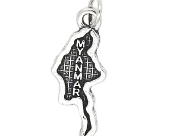 Sterling Silver Map of Myanmar Travel Charm