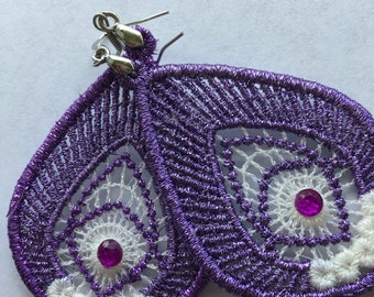 Pierced Metallic Purple Color Thread Embroidery Dangle Teardrop Earrings with purple sequins silver color hooks