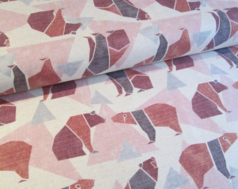 Japanese bear fabric by Kokka in lightweight canvas - 1/2 YD