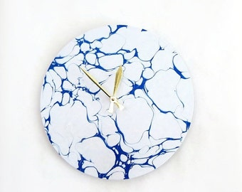 Modern Wall Clock, Blue and White Art, Faux Marble Clock, Decor and Housewares, Home Decor, Home and Living