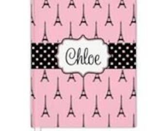 Custom Personalized pink eiffel tower paris Notebook Spiral or Hardbound