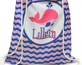 Personalized Drawstring Pink Nautical whale Bag