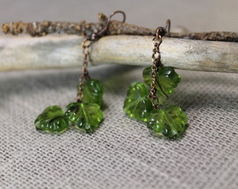 Birch leaves, chain earrings, spring green, forest, summer, woodland, gifts to her