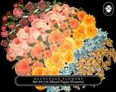 DieCut Shape - Decoupage Flowers Set #6 - 76 Mixed Paper Flowers - paper flower garland, roses clipart floral, pink rose clipart