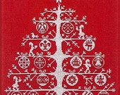 DMC Japan Christmas Tree cross stitch kit, Christmas cross stitch pattern, modern counted cross stitch, red and white Christmas, snowflake