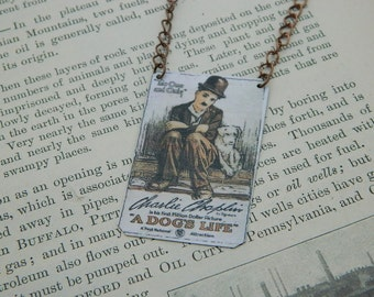 Charlie Chaplin necklace mixed media jewelry The Little Tramp