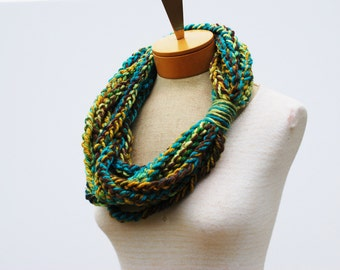 Necklace Scarf - Chain Scarf - Crochet Infinity Scarf - Crochet Rope Scarf - Crochet Cowl Scarf - Chunky Scarf - Gift Idea