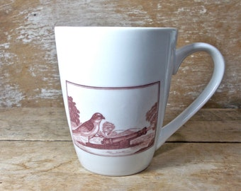 Steampunk Military Bird Mug, DISCOUNTED SECOND, Canon, Victorian Goggles,  Funny Humorous Birds, 14 oz Porcelain Coffee Cup, Ready to Ship