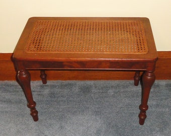 Vintage Wood Wooden Woven Cane Top Bench Side Table Living Room Bedroom Home Office Furniture Accessory Decor