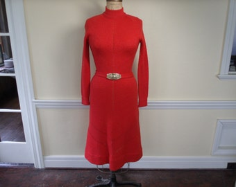 Vintage 1970's Coral Dress Rosalyn Cherry Marni Knits Hand Loomed Midi S / M
