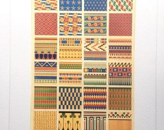 Antique DECORATION 1856 EGYPTIAN Art Chromolithograph Bookplate Owen Jones Grammar of Ornament Print Interior Design Reference