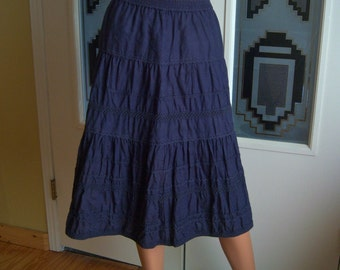 "Vintage Linen Skirt, ""Madison Studio"", Circular Peasant Skirt, Square Dance, Rock-A-Billy, Ladies Size Small, Early 90's"