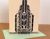 Single Oakland Art Deco Linocut Card in Black
