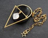 RAW HERKIMER DIAMOND - Tri-Half-Moon Drop Pendant - Beaded Aged Brass Chain 17.5 Inches