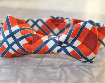 Orange & Blue Plaid Infant/Baby/Toddler Bow Tie and/or Suspenders- Great Photo Prop, Cute for Weddings, Cake Smashing