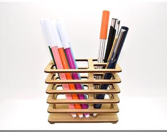 "Wooden Pen Pencil Holder ""Rectangle"".  Desk Organizer, Wood Desk Storage, Desk Organizer, Office Organization, Pen cup. ""Skeleton"" series."