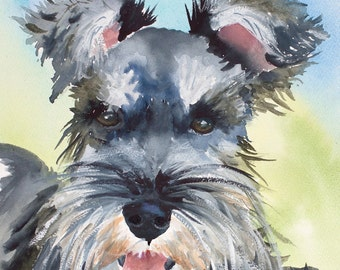 schnauzer, schnauzer painting, schnauzer portrait, dog art, minature schnauzerdog memorial, pet loss gift, pet memorial,