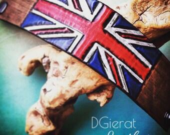 Leather Union Jack Wristband, Leather Cuff Bracelet, Hand carved, Union Jack Flag, British Flag Jewelry