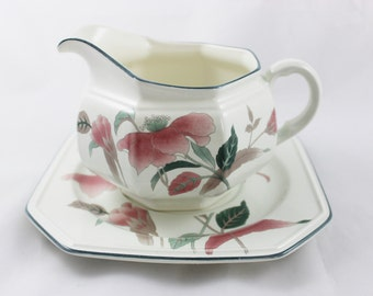 Mikasa Continental Silk Flowers Gravy Boat and Underplate