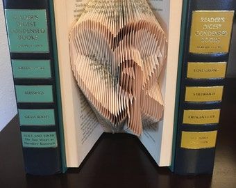 Folded Book Art Heart with Awareness Ribbon