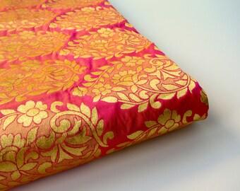 Gold gold flower bunch silk brocade fabric nr 721 - 1/4 yard   fat quarter