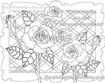 Printable Color Page Adult Roses Colour to Digital Color Art Sheet Rose Buds Bud Cluster Flowers Line Drawing JPEG File Art Instant Download