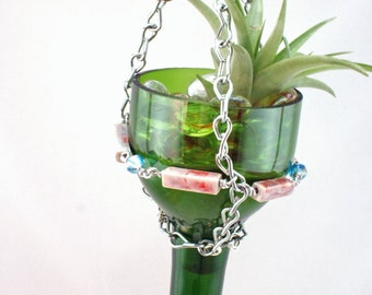 Air Plant Terrarium, Hanging Planter, Hanging Air Plant, Hanging Garden Decor, Recycled Home Decor, Succulent Planter