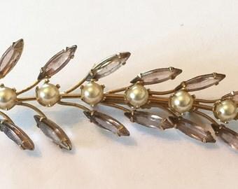 Leaf Pin, Long Pearl Brooch, Smokey Topaz Rhinestone, Vintage Jewelry VALENTINE SALE