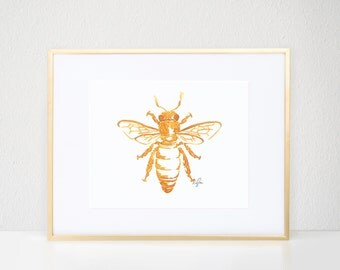 Queen Bee Print, Gold Bug Illustration - Fashion Wall Art Watercolor Painting