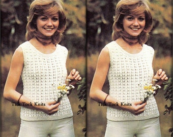 No.479 Eyelet Lace Tank Top For Women - Knitting Pattern Vintage PDF - Sleeveless Summer 1970's Retro Knitting Pattern - Instant Download