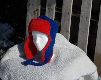Lumberjack/Bomber/Earflap/Aviator Winter Hat in blue and red royal blue and red