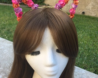 Ready to ship Light-up Sunset Floral Rose Kitty Cat Ears gold orange pink purple lavender