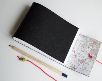 Warwickshire Map Journal Sketchbook, Leather Travel Journal, Mini Sketchbook, Travel Gift, Leather Notebook, A6 Landscape Journal Sketchbook