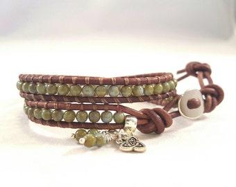 Small Double Wrap Bracelet - Bono style, Czech glass Picasso beads