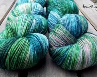MCN 80/10/10 Sock, 4 ply, Hand Dyed Yarn, SW Merino wool Cashmere Nylon, 435 yds/100g: Fairy Garden.