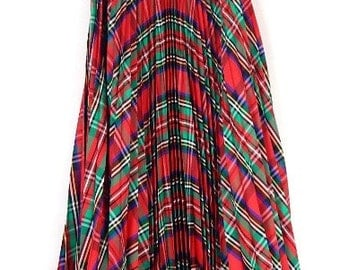 Red plaid festive maxi skirt size XS-S