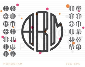 Monogram Font SVG + DXF Cutting Files + EPS for ClipArt, Alphabet
