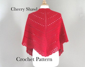 Shawl Wrap Crochet Pattern, Eyelets & Scallop Lace, DK Weight Yarn, Double Single Crochet, Scallop Edge