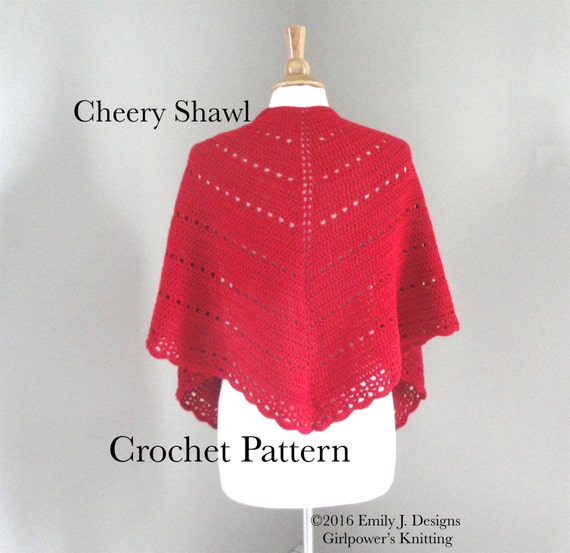 Crochet Lace Weight Shawl Pattern : Shawl Wrap Crochet Pattern Eyelets & Scallop Lace DK Weight