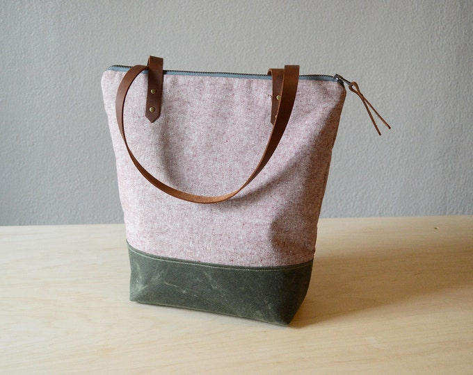 Featured listing image: Zipper Tote Bag in Rust Linen with Waxed Canvas
