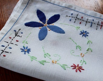 Vintage Linen Tablecloth Embroidery Applique Flowers Table Cloth Blue Green Topper White